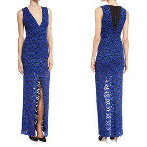 Alice + Olivia Kahlo V-Neck Slit Lace Column Dress